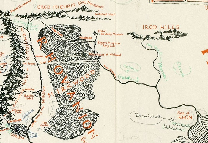 J.R.R. Tolkien Annotated Map Of Middle Earth