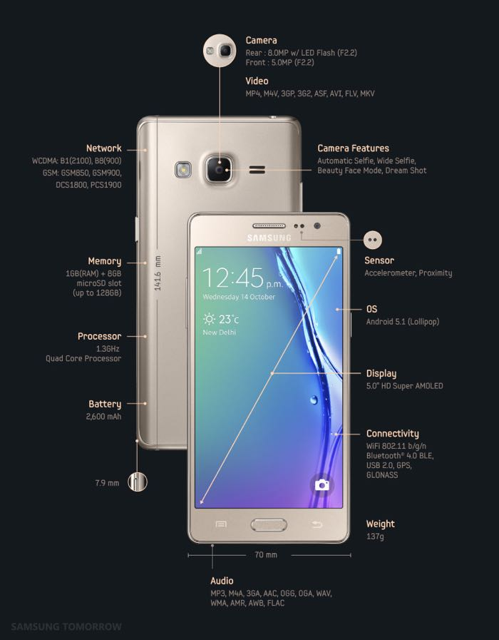 samsung z3 specifications