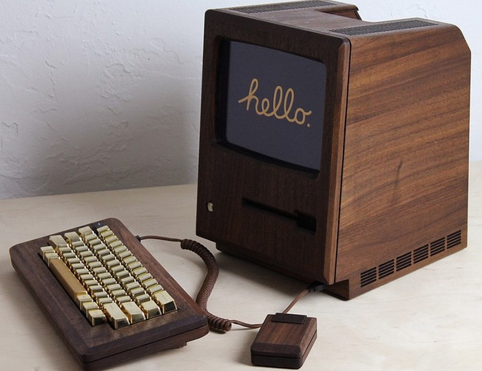 Iconic Apple Mac System Created From Walnut Wood