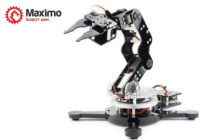 Maximo axis arduino robot arm launches from video