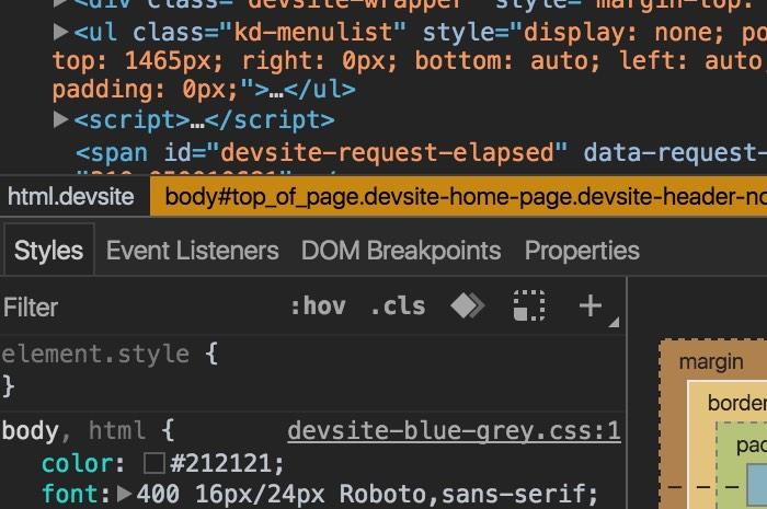 Google Chrome's Developer Tools Dark Theme