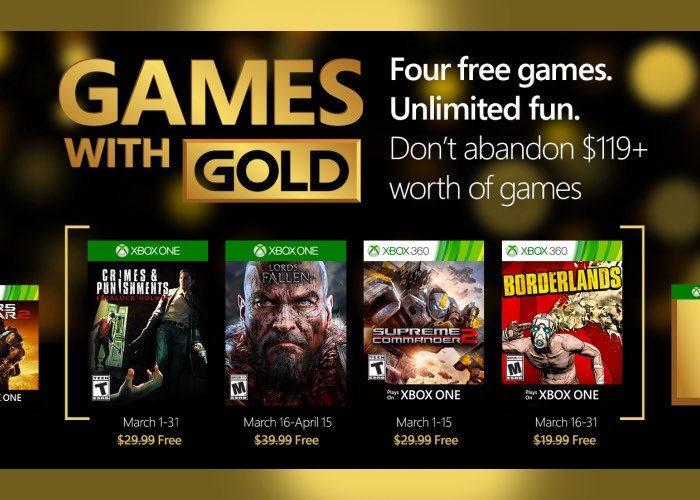 Official Xbox Live Games With Gold March 2016
