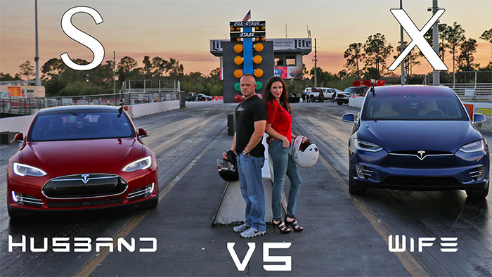 Spouses Hold Tesla Drag Race