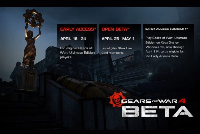 http://majornelson.com/2016/03/15/gears-of-war-4-multiplayer-beta-kicks-off-on-april-18/