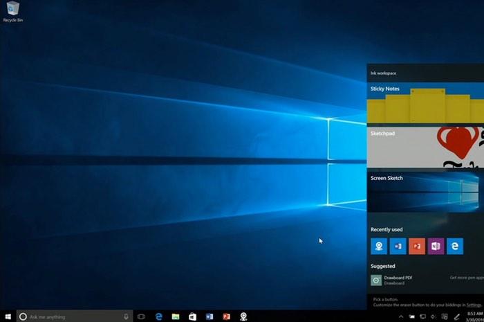 Windows 10 Stylus Ink Workspace