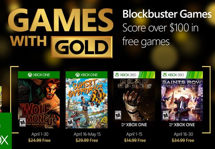 Xbox Live Gold Games Announced For April 2016