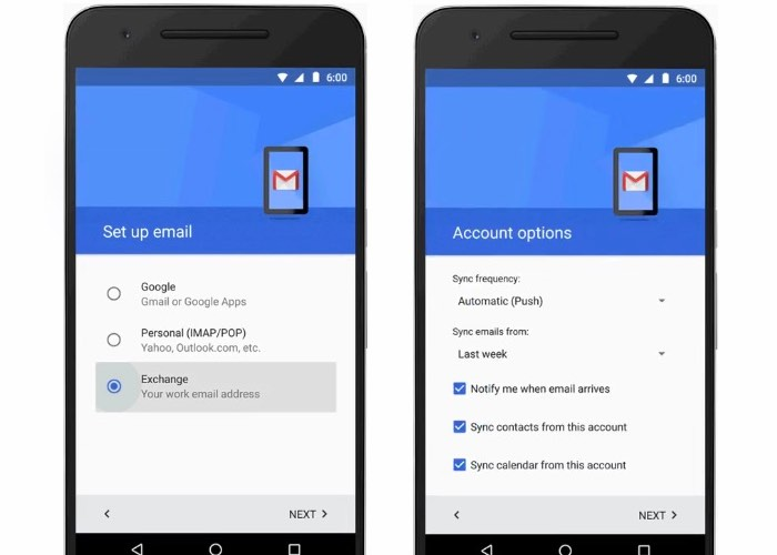 Android Gmail App Exchange