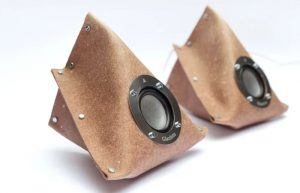 Giacinto DIY Stereo Speaker System Constructed From Recycled Leather (video)