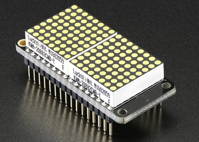 Featherwing Adafruit 8×16 LED Matrix Display Kit