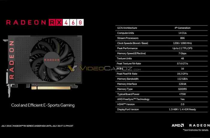 AMD Radeon RX 470 And RX 460 Graphic Card Specifications Leaked