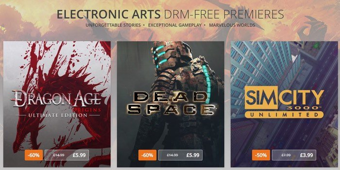 Dragon Age,  Dead Space And SimCity 3000 On GOG