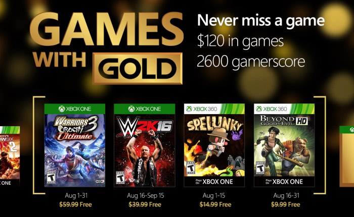 Free Xbox Live Gold Games For August 2016