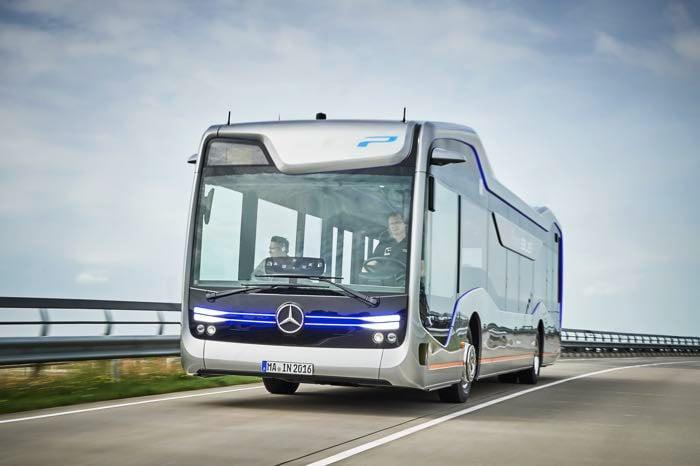 Mercedes future bus drives itself geeky gadgets for Mercedes benz long beach service department
