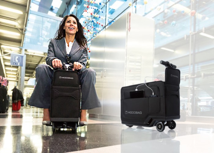 Fancy a spin on the world's first motorized luggage?