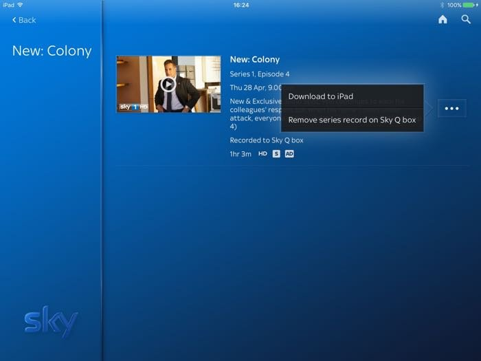 Sky Q iPad