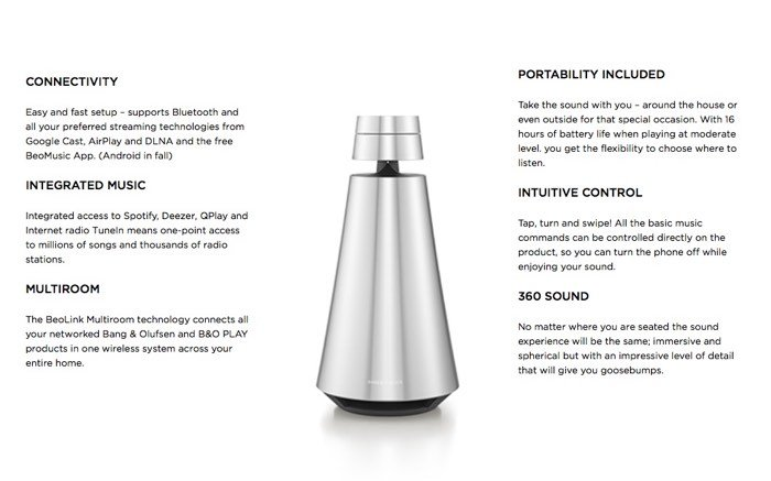 Bang & Olufsen Wireless BeoSound 1 Speaker