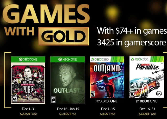 December 2016 Xbox Live Gold Games