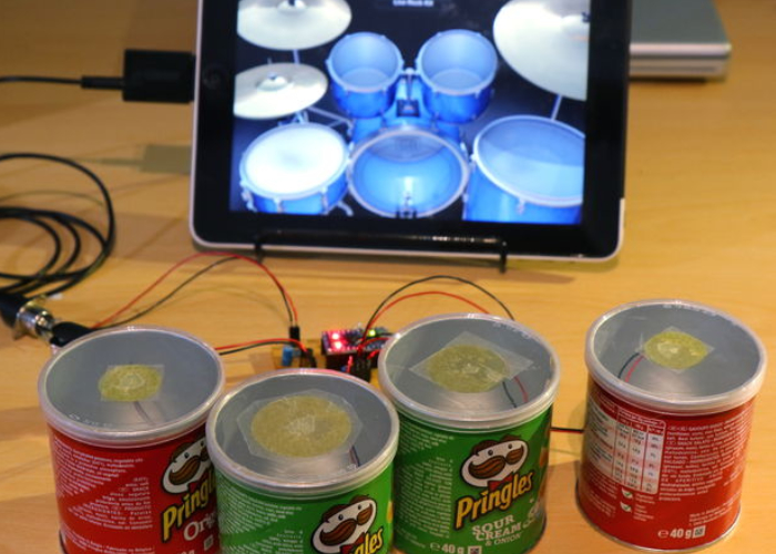Pringles Cans Transformed Into MIDI Drum Kit
