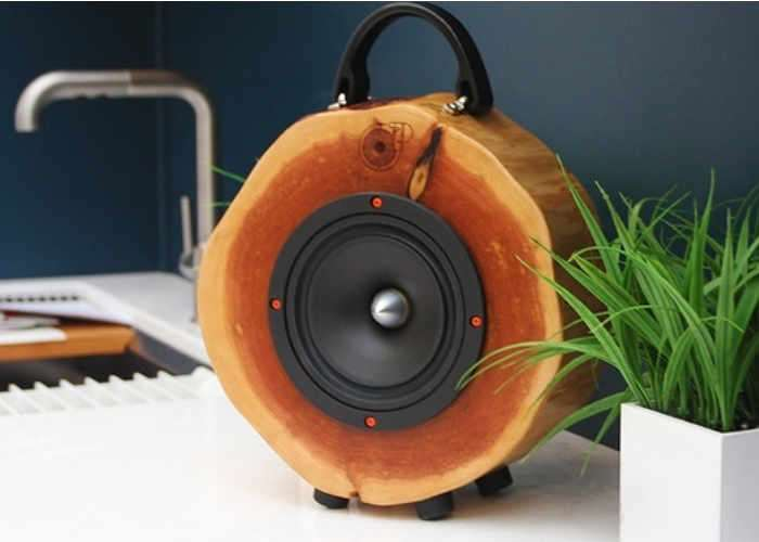 Rockit Logs handcrafted speakers