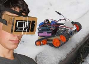 Arduino FPV Virtual Reality Controlled Tracked Robot (video)