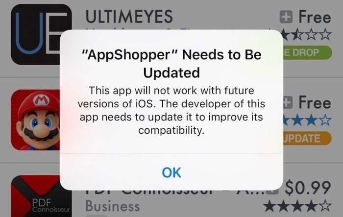 Future iOS release will soon end support for unmaintained 32-bit apps