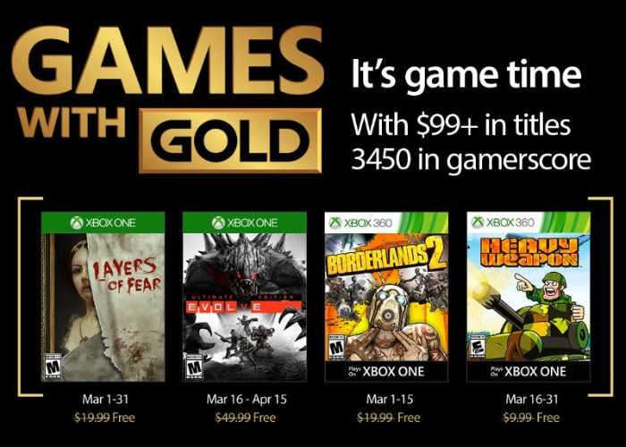 Free Xbox Live Games For March 2017