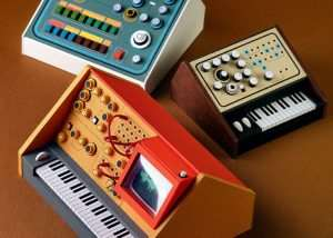 Miniature Retro Papercraft Synthesizers