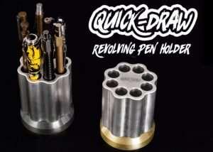 Unique Quick-Draw Revolving Pen & Pencil Holder Inspired By The Revolver (video)