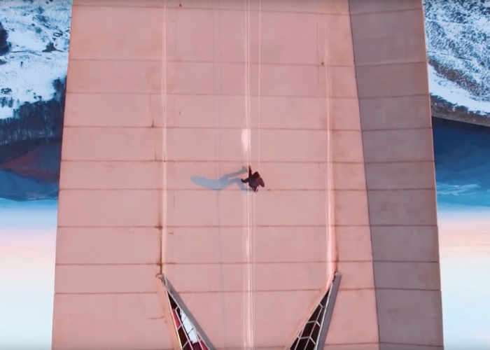 Drone Video Records Video Game Style Stunt Run