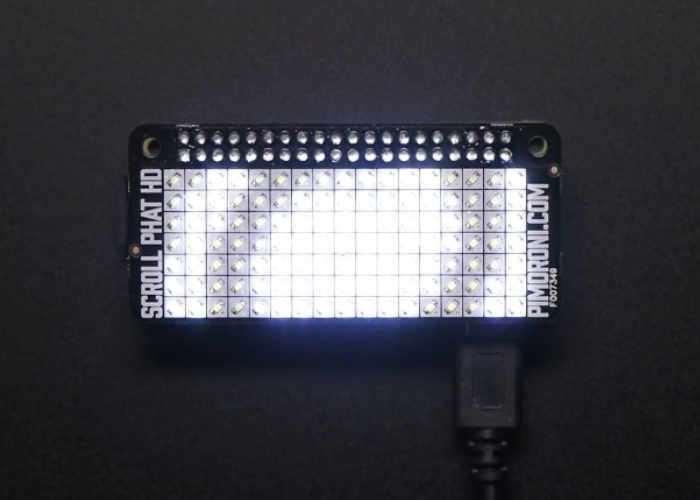 Raspberry Pi Zero Pimoroni Scroll pHAT HD LED Matrix Arrives At