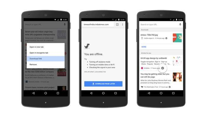 Chrome on Android makes it easier to read web pages offline