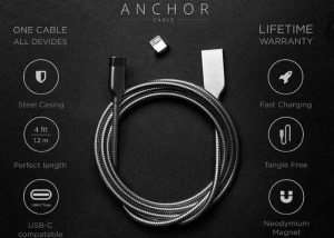 Anchor Cable Stainless Steel, Magnetic, Cross Device Charging Cable Hits Kickstarter (video)