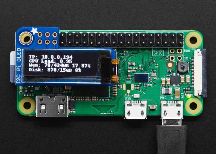 Raspberry Pi PiOLED 128×32 Monochrome OLED