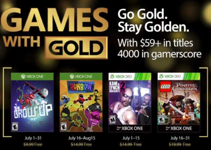 Xbox Live Games With Gold For July 2017