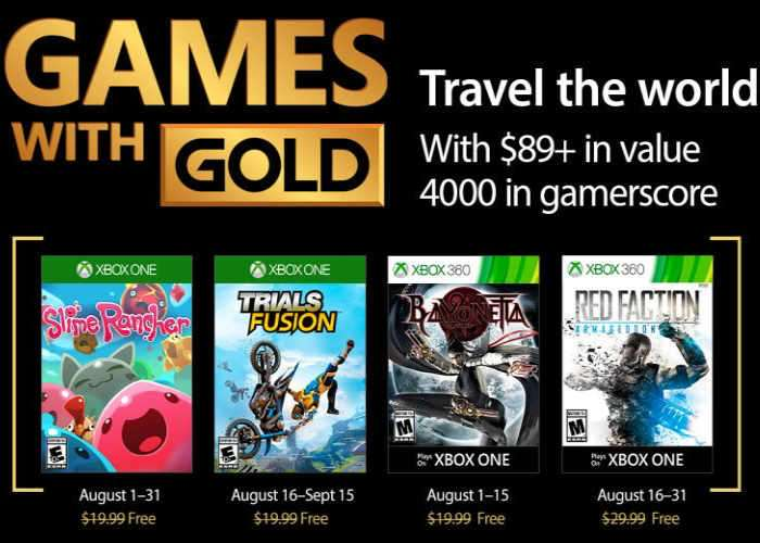 Free Xbox Games With Gold For August 2017