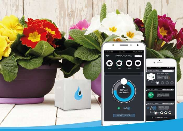 AquaFons Smartphone Controlled Wireless Plant Watering System