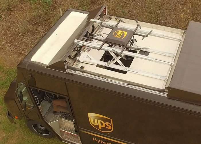 UPS Van Roof Mounted Concept Drone Delivery System