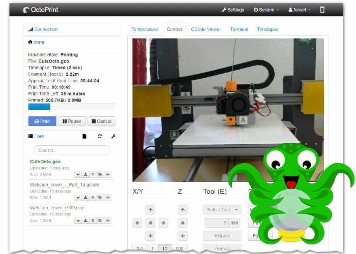 Raspberry Pi OctoPrint Monitors And Streams Your 3D Print In Real