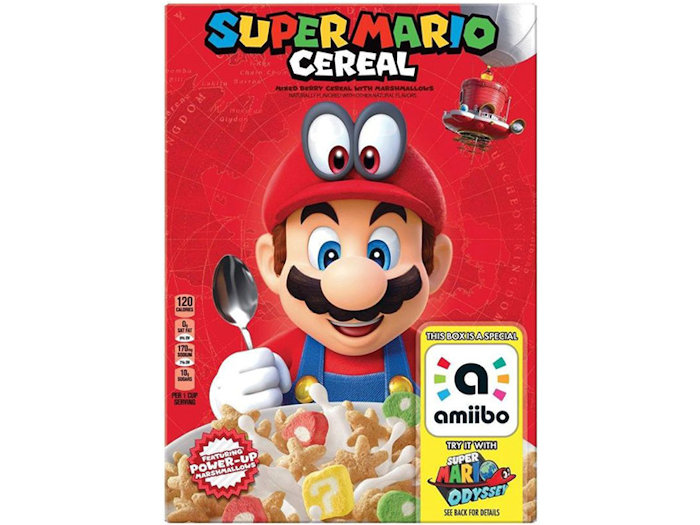 Kellogg's Super Mario-themed cereal box with Amiibo power-up sticker leaked