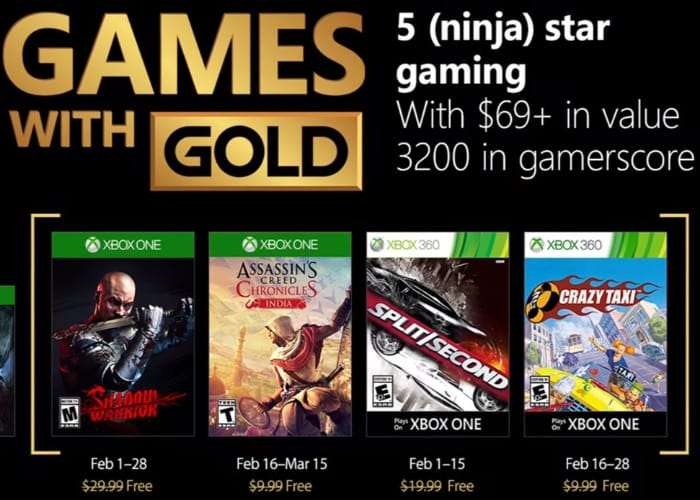 February's free Games with Gold for Xbox One and Xbox 360