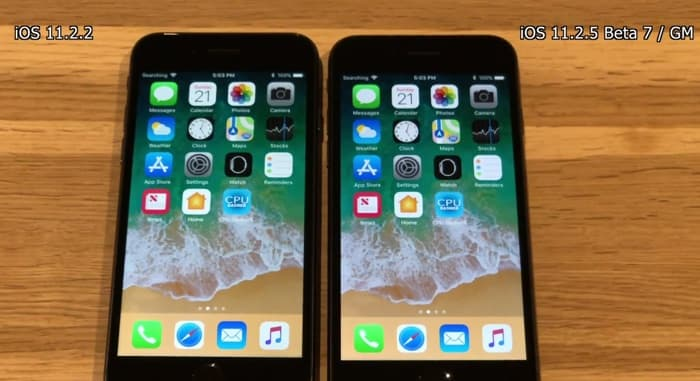 iOS 11.2.5 Beta 7 vs iOS 11.2.2