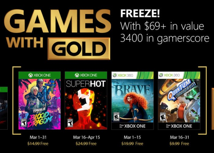 Free Xbox Games For March 2018