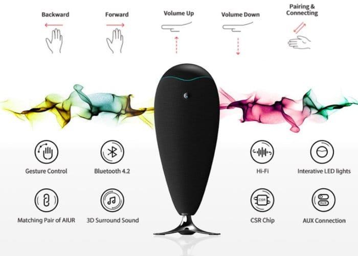 AIUR Intelligent Gesture Control 360 Speaker