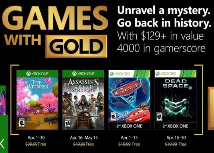 Free Xbox Games With Gold April 2018