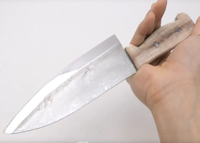 Kitchen Knife From A Roll Of Aluminium Foil