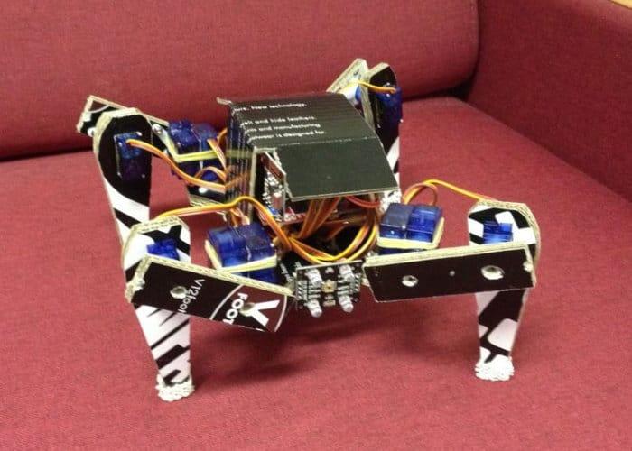 Arduino cardboard quadruped robot geeky gadgets