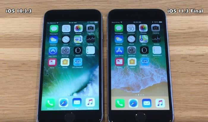 iOS 10.3.3 vs iOS 11.3
