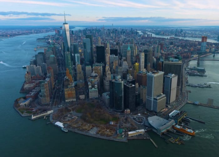 12K Aerial Footage Of NYC at Sunset