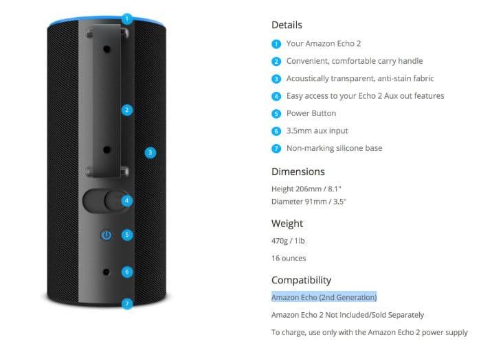 New Amazon Echo 2018 Sky Battery Base