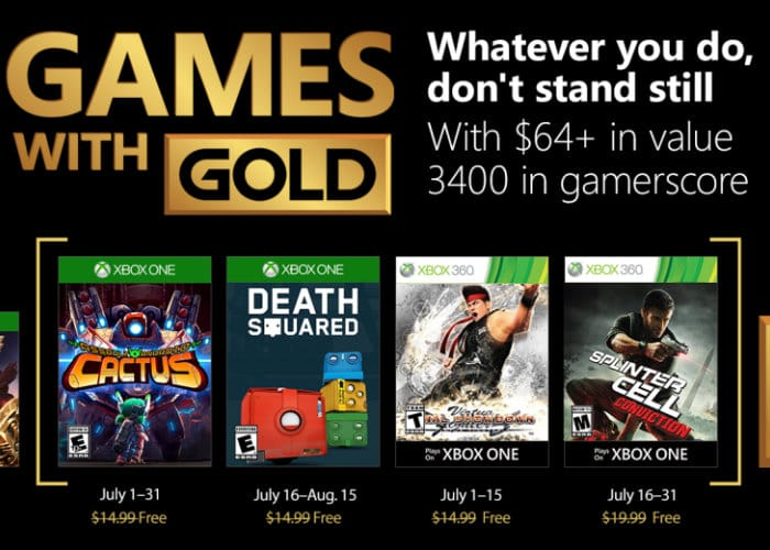 Free Xbox Games With Gold July 2018